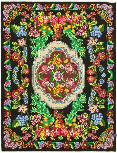 "Vintage Handwoven Moldovan Kilim Area Rug - 7'5"" x 9'7"" (89 in. x 115 in.)"