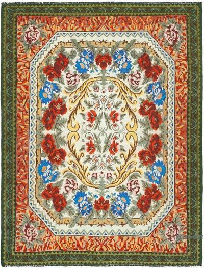 "Vintage Handwoven Moldovan Kilim Area Rug - 7'6"" x 9'10"" (90 in. x 118 in.)"