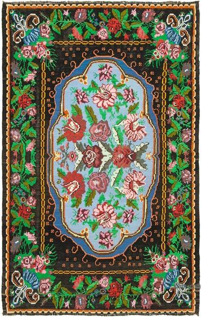 "Vintage Handwoven Moldovan Kilim Area Rug - 6'9"" x 10'6"" (81 in. x 126 in.)"