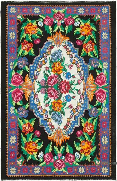 "Vintage Handwoven Moldovan Kilim Area Rug - 6'11"" x 10'4"" (83 in. x 124 in.)"