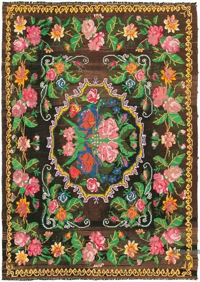 "Vintage Handwoven Moldovan Kilim Area Rug - 6' 11"" x 9' 8"" (83 in. x 116 in.)"