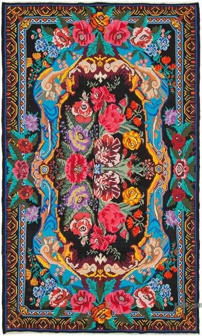 "Vintage Handwoven Moldovan Kilim Area Rug - 7'10"" x 13' (94 in. x 156 in.)"