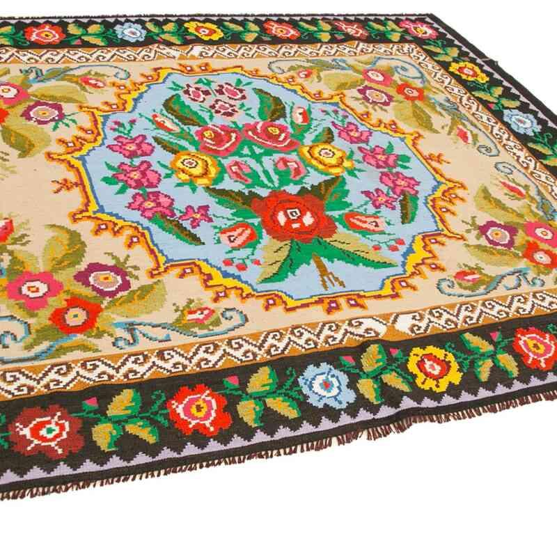"""Multicolor Vintage Handwoven Moldovan Kilim Area Rug - 6' 5"""" x 8'  (77 in. x 96 in.) - K0038946"""