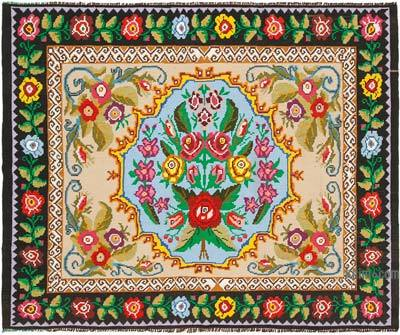 "Vintage Handwoven Moldovan Kilim Area Rug - 6'5"" x 8' (77 in. x 96 in.)"