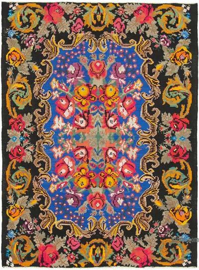 "Vintage Handwoven Moldovan Kilim Area Rug - 5' 10"" x 7' 8"" (70 in. x 92 in.)"