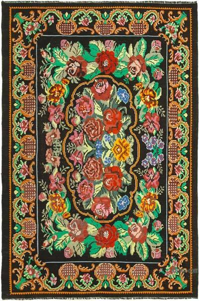 "Vintage Handwoven Moldovan Kilim Area Rug - 7'  x 10' 4"" (84 in. x 124 in.)"