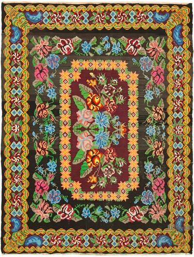 "Vintage Handwoven Moldovan Kilim Area Rug - 6' 11"" x 9' 1"" (83 in. x 109 in.)"
