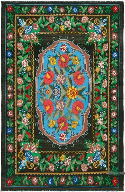 "Vintage Handwoven Moldovan Kilim Area Rug - 7' 10"" x 12' 3"" (94 in. x 147 in.)"
