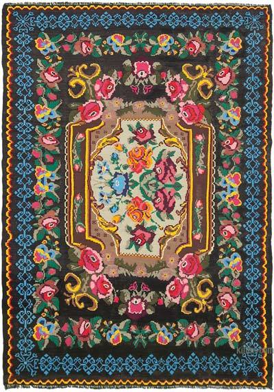 "Vintage Handwoven Moldovan Kilim Area Rug - 7' 1"" x 9' 10"" (85 in. x 118 in.)"