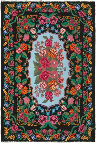 "Vintage Handwoven Moldovan Kilim Area Rug - 7'4"" x 10'10"" (88 in. x 130 in.)"