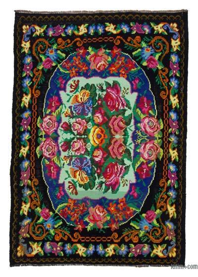 "Vintage Handwoven Moldovan Kilim Area Rug - 5'5"" x 7'7"" (65 in. x 91 in.)"
