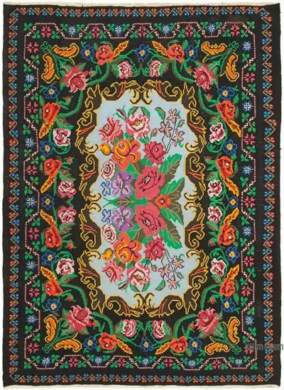 "Vintage Handwoven Moldovan Kilim Area Rug - 6' 6"" x 8' 11"" (78 in. x 107 in.)"