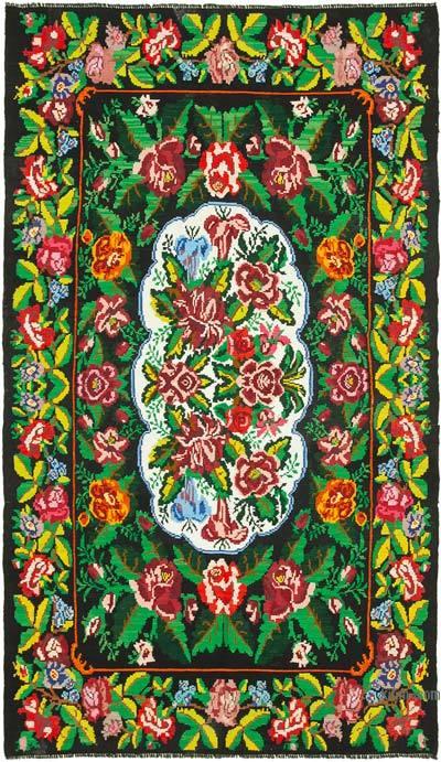 "Vintage Handwoven Moldovan Kilim Area Rug - 6' 8"" x 11' 5"" (80 in. x 137 in.)"