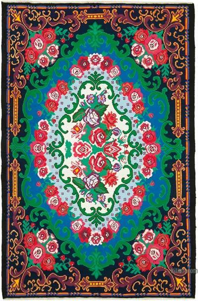 """Multicolor Vintage Handwoven Moldovan Kilim Area Rug - 6' 11"""" x 10' 8"""" (83 in. x 128 in.)"""