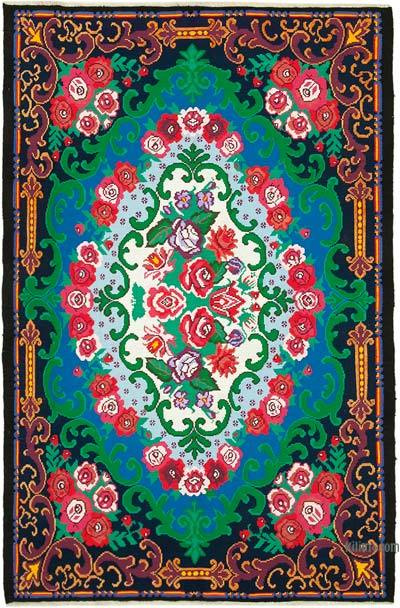 "Vintage Handwoven Moldovan Kilim Area Rug - 6'11"" x 10'8"" (83 in. x 128 in.)"