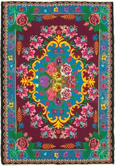 "Vintage Handwoven Moldovan Kilim Area Rug - 7' 1"" x 10'  (85 in. x 120 in.)"