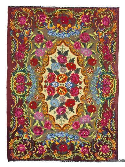 "Vintage Handwoven Moldovan Kilim Area Rug - 6'11"" x 9'9"" (83 in. x 117 in.)"