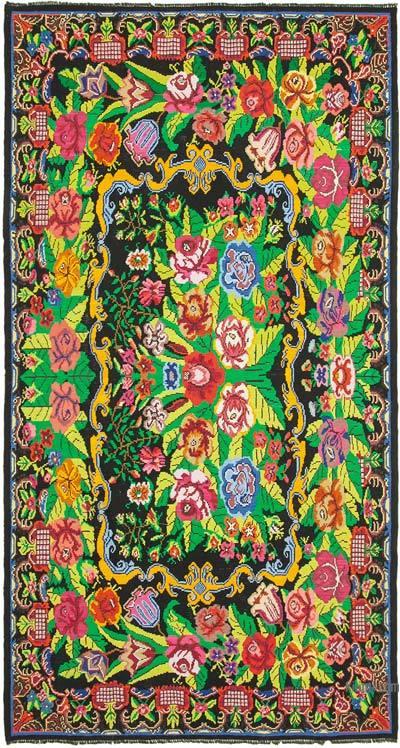 """Multicolor Vintage Handwoven Moldovan Kilim Area Rug - 7' 5"""" x 13' 8"""" (89 in. x 164 in.)"""