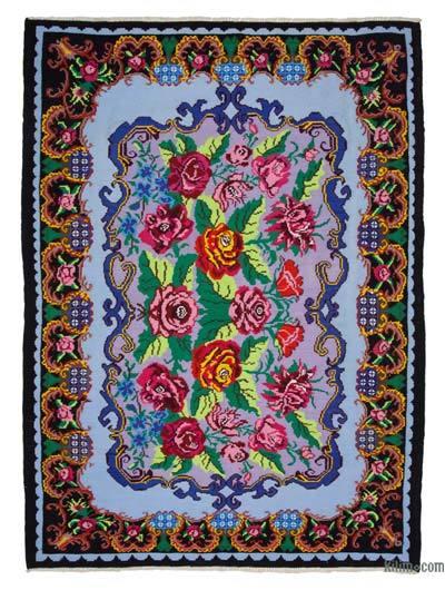 "Vintage Handwoven Moldovan Kilim Area Rug - 6'9"" x 9'7"" (81 in. x 115 in.)"