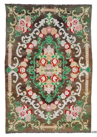 "Vintage Handwoven Moldovan Kilim Area Rug - 6' 7"" x 9' 11"" (79 in. x 119 in.)"