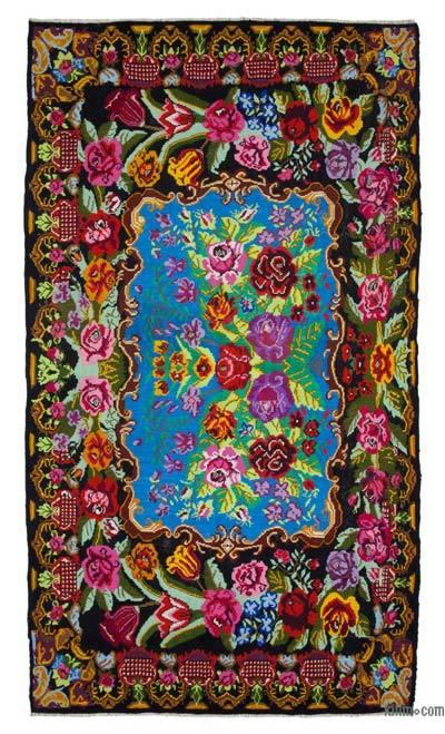 "Vintage Handwoven Moldovan Kilim Area Rug - 7' 3"" x 13' 7"" (87 in. x 163 in.)"