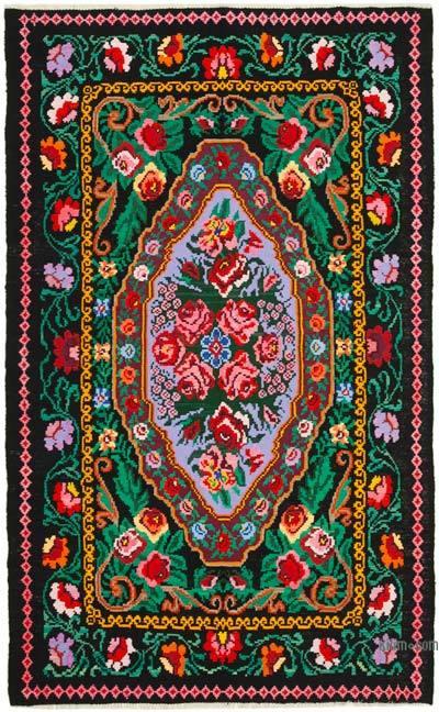 "Vintage Handwoven Moldovan Kilim Area Rug - 4' 11"" x 8' 1"" (59 in. x 97 in.)"