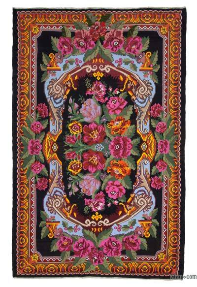 "Vintage Handwoven Moldovan Kilim Area Rug - 7'11"" x 12'8"" (95 in. x 152 in.)"