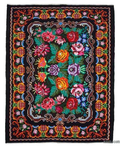 "Vintage Handwoven Moldovan Kilim Area Rug - 7'4"" x 9'5"" (88 in. x 113 in.)"