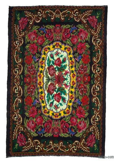 "Vintage Handwoven Moldovan Kilim Area Rug - 6'11"" x 11' (83 in. x 132 in.)"