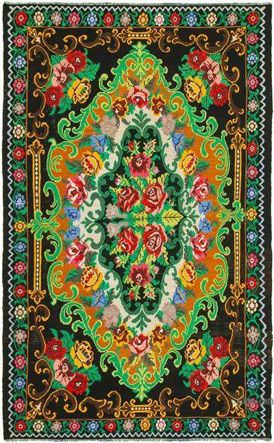 "Vintage Handwoven Moldovan Kilim Area Rug - 7'3"" x 11'3"" (87 in. x 135 in.)"