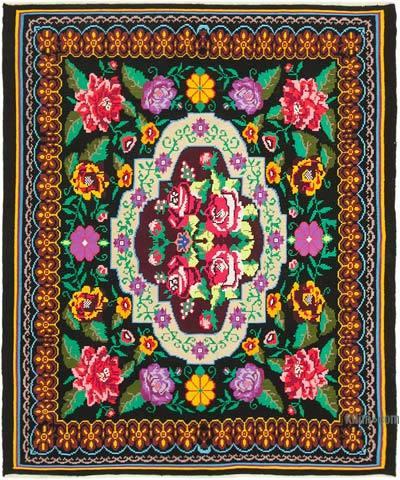 "Vintage Handwoven Moldovan Kilim Area Rug - 7' 2"" x 8' 4"" (86 in. x 100 in.)"