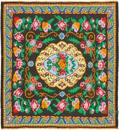 "Vintage Handwoven Moldovan Kilim Area Rug - 6' 9"" x 7'  (81 in. x 84 in.)"