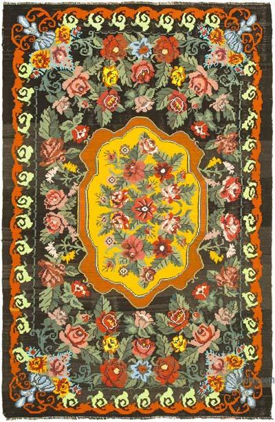 "Vintage Handwoven Moldovan Kilim Area Rug - 7' 2"" x 11'  (86 in. x 132 in.)"
