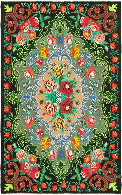 "Vintage Handwoven Moldovan Kilim Area Rug - 6'6"" x 10'4"" (78 in. x 124 in.)"