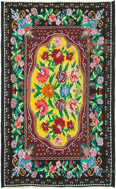 "Vintage Handwoven Moldovan Kilim Area Rug - 6'7"" x 10'6"" (79 in. x 126 in.)"