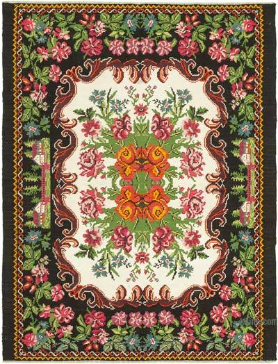 "Vintage Handwoven Moldovan Kilim Area Rug - 6'10"" x 8'10"" (82 in. x 106 in.)"
