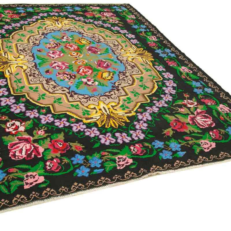 """Multicolor Vintage Handwoven Moldovan Kilim Area Rug - 7' 7"""" x 10' 4"""" (91 in. x 124 in.) - K0038991"""