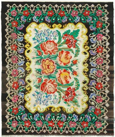 "Vintage Handwoven Moldovan Kilim Area Rug - 5' 11"" x 6' 11"" (71 in. x 83 in.)"