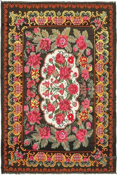 "Vintage Handwoven Moldovan Kilim Area Rug - 7' 2"" x 10' 8"" (86 in. x 128 in.)"