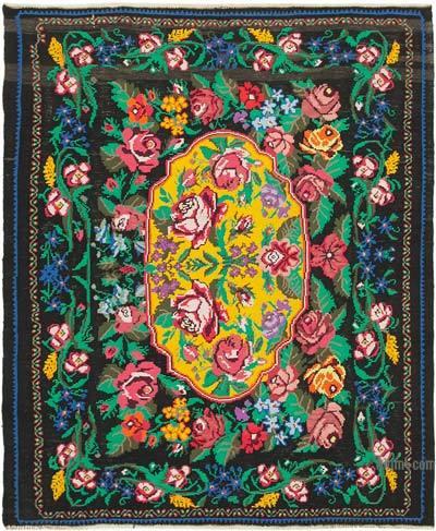 "Vintage Handwoven Moldovan Kilim Area Rug - 6' 6"" x 7' 7"" (78 in. x 91 in.)"