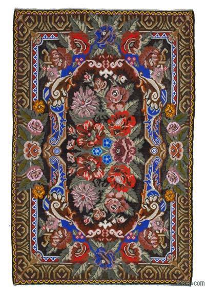 "Vintage Handwoven Moldovan Kilim Area Rug - 6'9"" x 10'7"" (81 in. x 127 in.)"