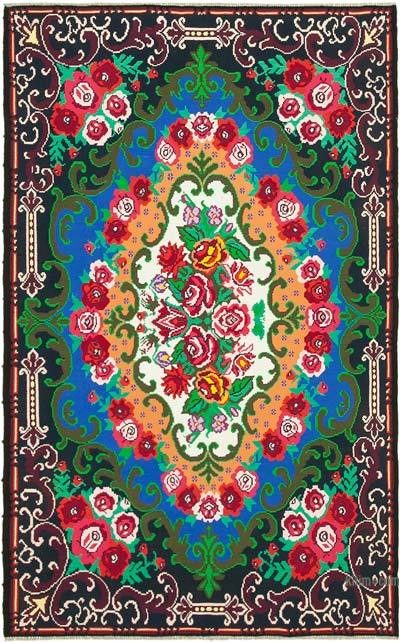 "Vintage Handwoven Moldovan Kilim Area Rug - 7' 1"" x 11'  (85 in. x 132 in.)"