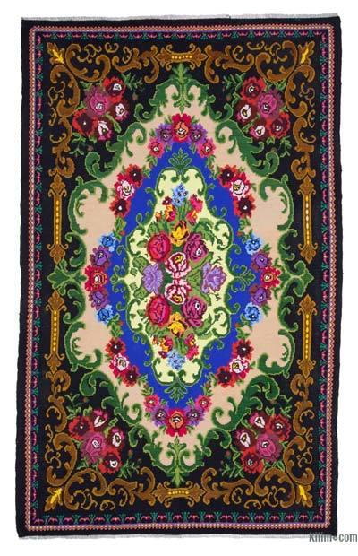 "Vintage Handwoven Moldovan Kilim Area Rug - 6'9"" x 10'10"" (81 in. x 130 in.)"