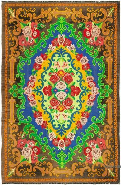 "Vintage Handwoven Moldovan Kilim Area Rug - 6'11"" x 10'3"" (83 in. x 123 in.)"