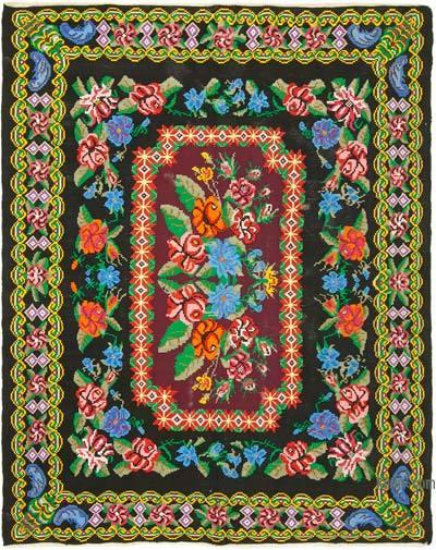 "Vintage Handwoven Moldovan Kilim Area Rug - 7' 1"" x 9'  (85 in. x 108 in.)"