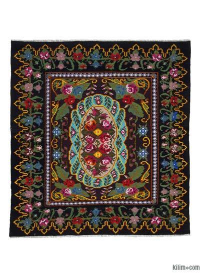 "Vintage Handwoven Moldovan Kilim Area Rug - 6' 9"" x 7' 5"" (81 in. x 89 in.)"