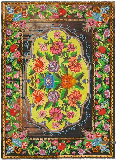 "Vintage Handwoven Moldovan Kilim Area Rug - 6'11"" x 9'5"" (83 in. x 113 in.)"