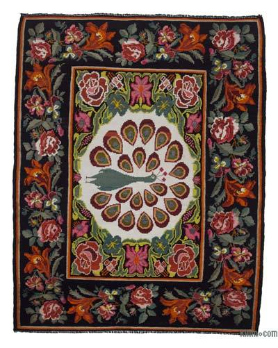 "Vintage Handwoven Moldovan Kilim Area Rug - 6'2"" x 7'10"" (74 in. x 94 in.)"