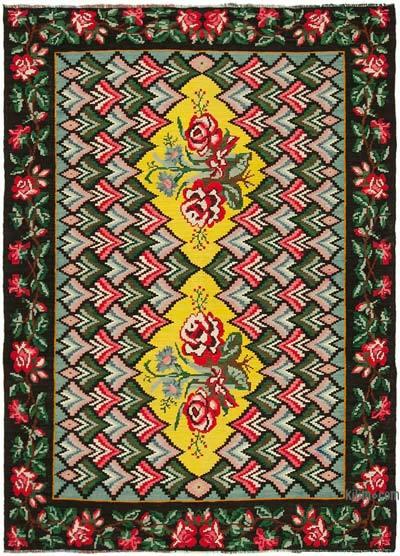 "Vintage Handwoven Moldovan Kilim Area Rug - 6' 10"" x 9' 3"" (82 in. x 111 in.)"