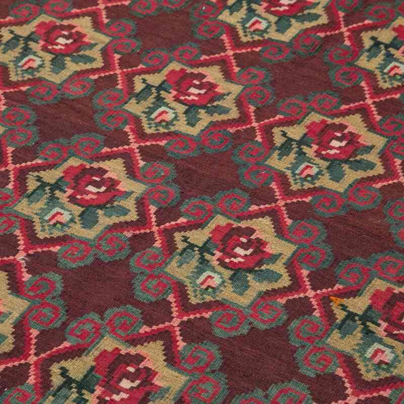 """Multicolor Vintage Handwoven Moldovan Kilim Area Rug - 4' 11"""" x 7' 1"""" (59 in. x 85 in.) - K0039009"""